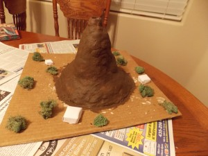 The volcano with paint and decorations